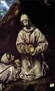 "El Greco, ""Sf. Francisc şi fr. Leon meditând asupra morţii"", aprox. 1600"
