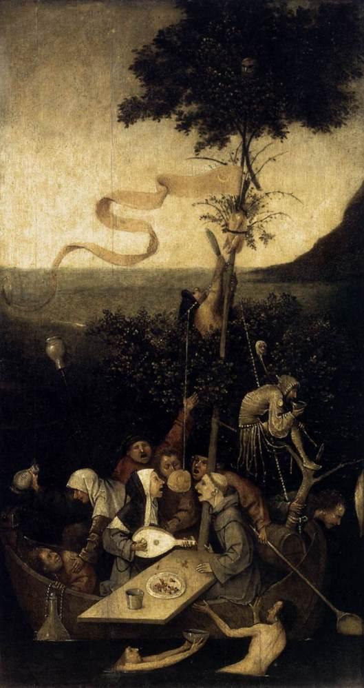 """Hieronymus Bosch, """"Corabia nebunilor"""" (1490-1500)"""