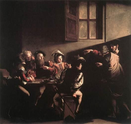 """Caravaggio, """"Chemarea lui Matei"""" (1599-1600)"""